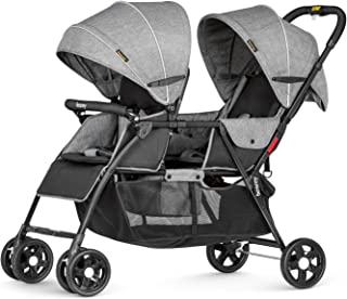 besrey Double Stroller Toddler Infant Stroller 0-36 Months Baby Pram Load up to 66 Lbs for 2 Baby Comfort Trip - Gray