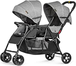 besrey Double Stroller Tandem Foldable Stroller 2 Canopy Pram for Babies Comfort Trip - Gray