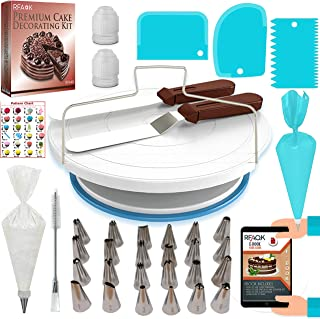 64 Pcs Cake decorating supplies Kit with Cake Turntable-Cake leveler- 24 Numbered Icing Piping Tips with Pattern Chart and EBook- Straight & Angled Spatula-30 Icings Bags- 3 Icing Comb Scraper set