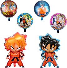 6 pcs Dragon Ball Z Balloons, Birthday Celebration Foil Balloon Set, DBZ Super Saiyan Goku Gohan Character Party Decorations