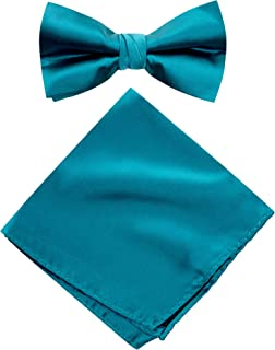 Men's Solid Color Satin Microfiber Bow Tie and Hankerchief Set
