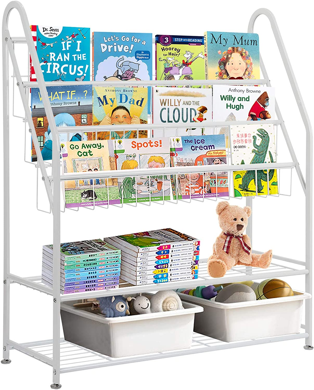 Kids Book Rack, 3 Sling Bookshelf with 2 Tie Toys Organizer Shelves Floor Standing Newspapers Magazine Rack Holder Display Storage Organizer Shelves for Home Office Books Magazine Files - White