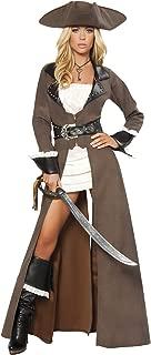 Roma Costume Deluxe 4 Piece Pirate Captain Costume, Distressed Brown, Medium