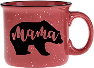 Cute Girly Coffee Mug for Mom, Women - Mama Bear - Coral - Unique Fun Gifts for Her, Wife, Mom, Under $20 - Handmade Coffee Cups & Mugs with Quotes, 14 oz