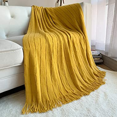 DISSA Knitted Blanket Super Soft Textured Solid Cozy Plush Lightweight Decorative Throw Blanket with Tassels Fluffy Woven Bla