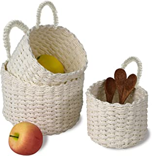 Made Terra Set 3 Semi Circle Woven Wall Hanging Baskets for Storage and Plant Pot Cover, Wicker Flower Pot Planter Cover I...
