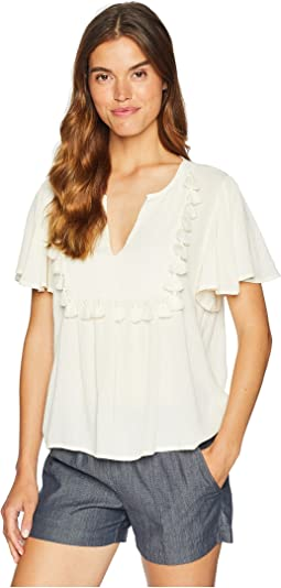 Short Sleeve Split-Neck Blouse with Tassel Trim