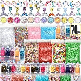 Hulluter 70PCS Slime Add Ins Slime Kit Floam Beads Fish Bowl Beads Mreaind Unicorn Slime Charms Glitter Jars Slime Supplies Kit