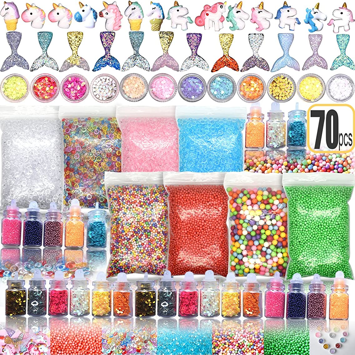 70PCS Slime Add Ins Slime Kit Floam Beads Fish Bowl Beads Mreaind Unicorn Slime Charms Glitter Jars Slime Supplies Kit(not Include Slime, and Packaging with Zipper Bag)