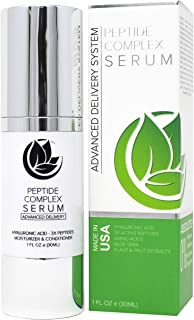 Peptide Complex Serum by Microderm GLO, Best Anti Aging, Wrinkle, Facial Care, 100% PURE & NATURAL, Plump, Hydrate & Nourish Your Face, Boosts Collagen & Heals Skin While Improving Tone & Texture, 1oz
