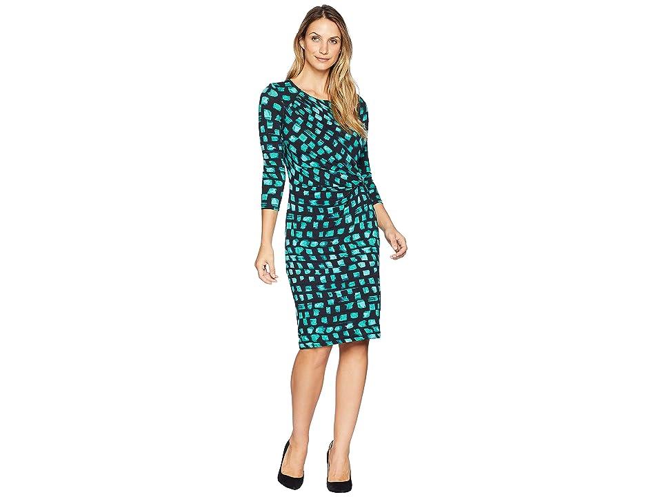 NIC+ZOE Vivid Sleeved Twist Dress (Bright Jade) Women