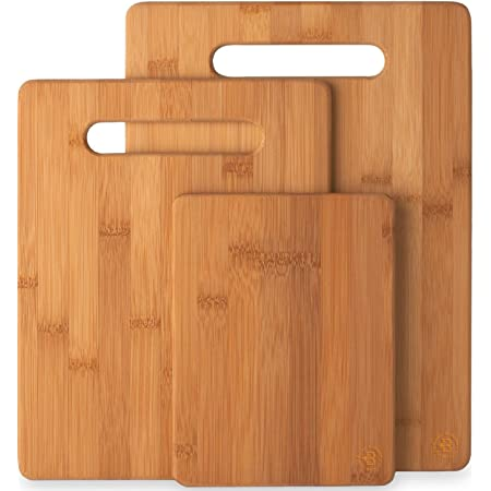 Amazon Com 3 Piece Bamboo Cutting Board Set Wooden Kitchen Boards For Food Prep And Chopping Fruits Vegetables Kitchen Dining