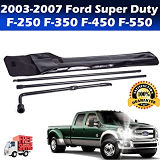 Tire Changing Repair Tool Kit for Ford Super Duty F-250 F-350 F-450 F-550 (2003-2007) Lug Wrench Jack Hook Extension 3 Piece Irons Replacement with Portable Bag OEM US Ship