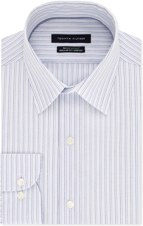 Tommy Hilfiger Mens Thflex Supima Button Up Dress Shirt