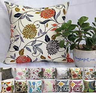 TangDepot 100% Cotton Floral/Flower Printcloth Decorative Throw Pillow Covers/Handmade Pillow Shams - 16