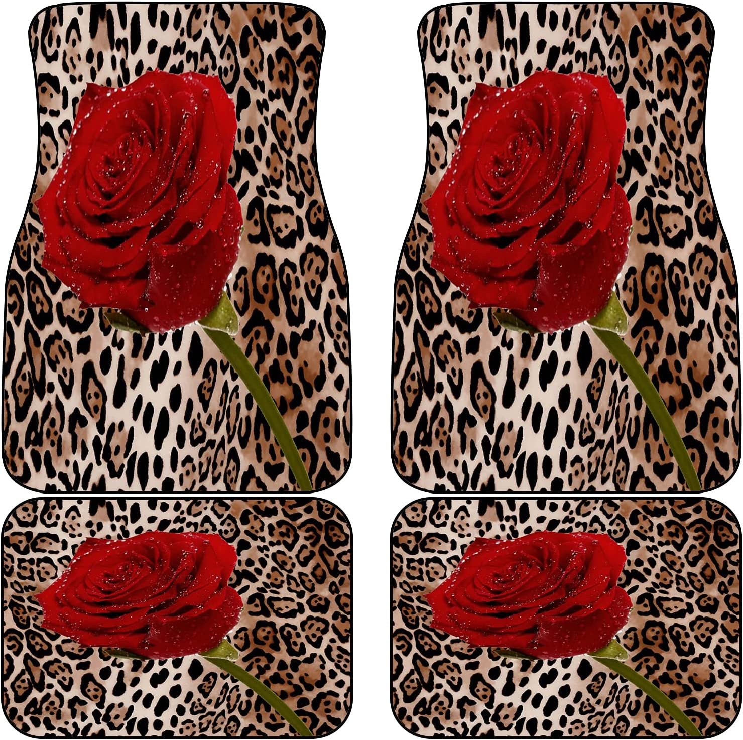 VINISATH Front Rear Car Mats San Jose Mall Set of Rose Colorado Springs Mall Leopard Red 4 Mix Wil