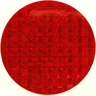 ifloortape DOT-SAE Red Dot 3 Inch Round High Visibility Reflective Stick On Reflector (4 decal pack)