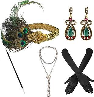 1920s Great Gatsby Accessories Set for Women,Costume Flapper Headpiece Headband (Medium, M43)
