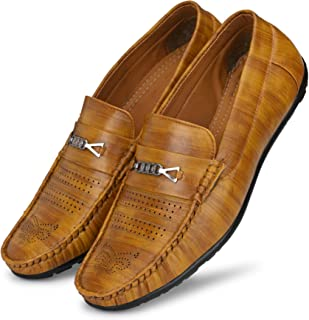 Shoe Island ® Rafale-X Leather Brown Party Slip-On Ethnic Casual Men Loafers Shoes for Men