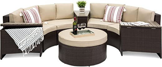 Best Choice Products 8-Piece Half Circle Wicker Sectional Sofa Set w/ Waterproof Cushions, Wedge Storage Tables - Brown