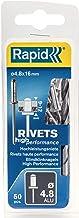 Rapid Blinde klinknagels ALU Universal Ø 4,8 mm, 9-12 mm klembereik, 50 stk. klinknagels, set incl. boor, voor blindklinkn...