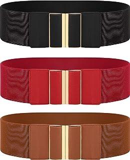 3 Pieces Women Wide Belt Elastic Cinch Waistband Stretch Dress Belt for Ladies