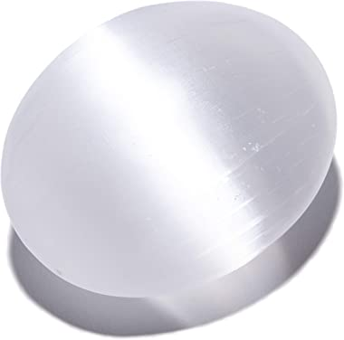 KALIFANO Selenite Worry Stone (2 Pack) with Healing & Calming Effects - High Energy Palm Stone Used for Cleansing, Protection, Charging Crystals (Information Card Included)