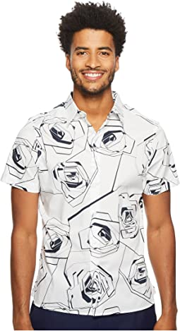 Perry Ellis - Short Sleeve Exploded Rose Shirt