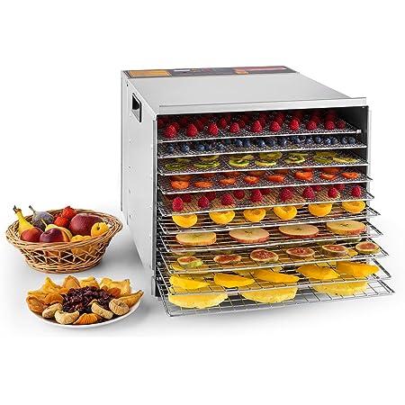 Klarstein Fruit Jerky Pro 10 Déshydrateur alimentaire de qualité professionelle (puissance de 1000W, 10 étages, 68°C) - acier inox