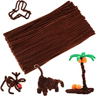 Caydo 200 Pieces Brown Pipe Cleaners Craft Chenille Stems for DIY Art Creative Crafts Decorations (12 Inch x 6 mm) (Brown)