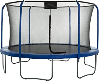 11' Blue and Black Outdoor Trampoline with Top Ring Enclosure System