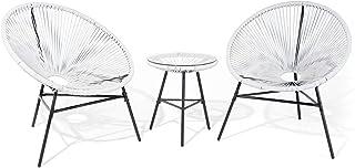 Mesa y 2 sillas de jardín, Color Blanco Acapulco