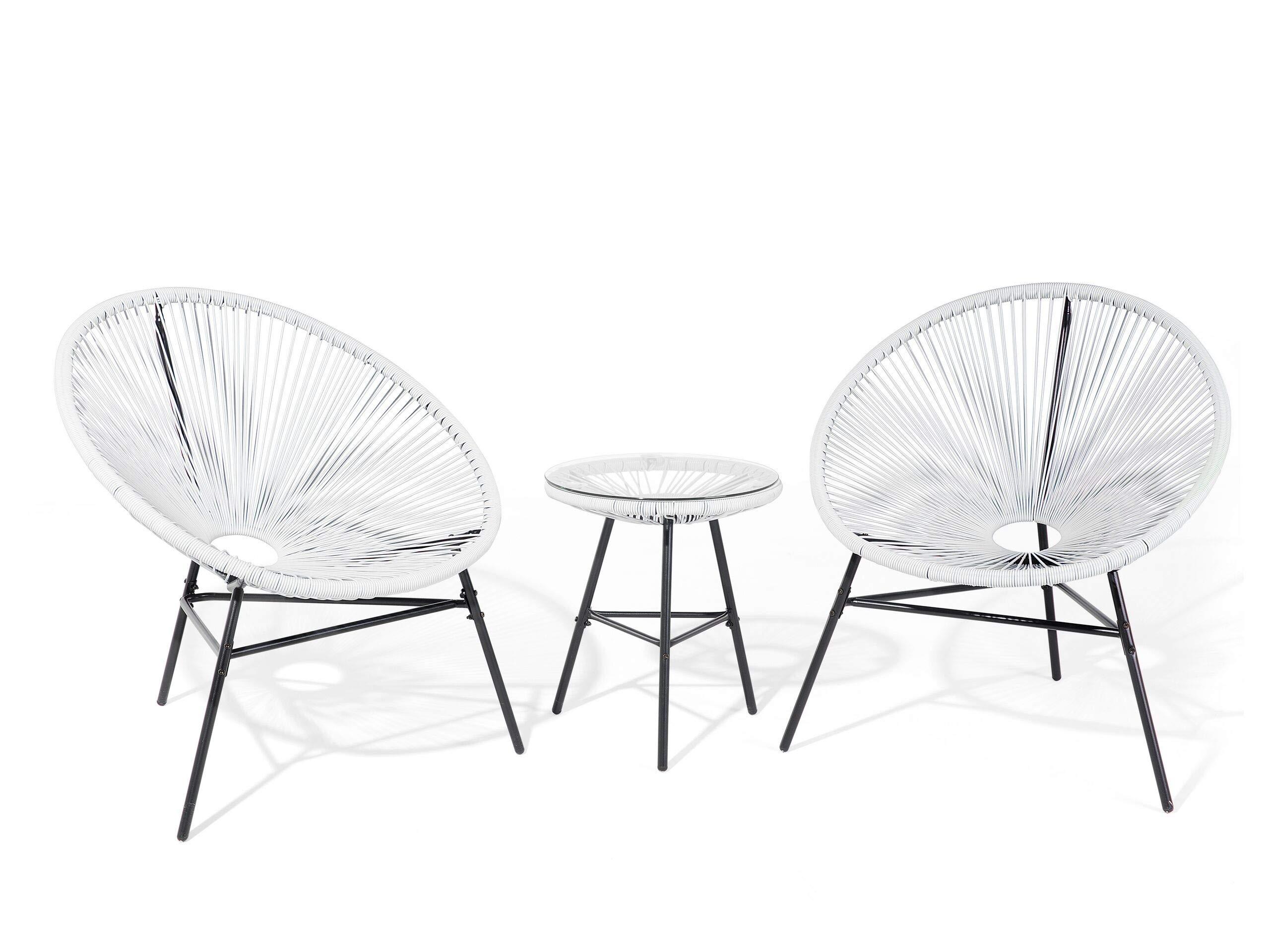 Mesa y 2 sillas de jardín, Color Blanco Acapulco: Beliani: Amazon.es: Hogar