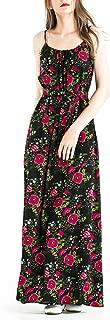 Zredurn Women's Floral Print Spaghetti Strap Casual Beach Party Maxi Dress