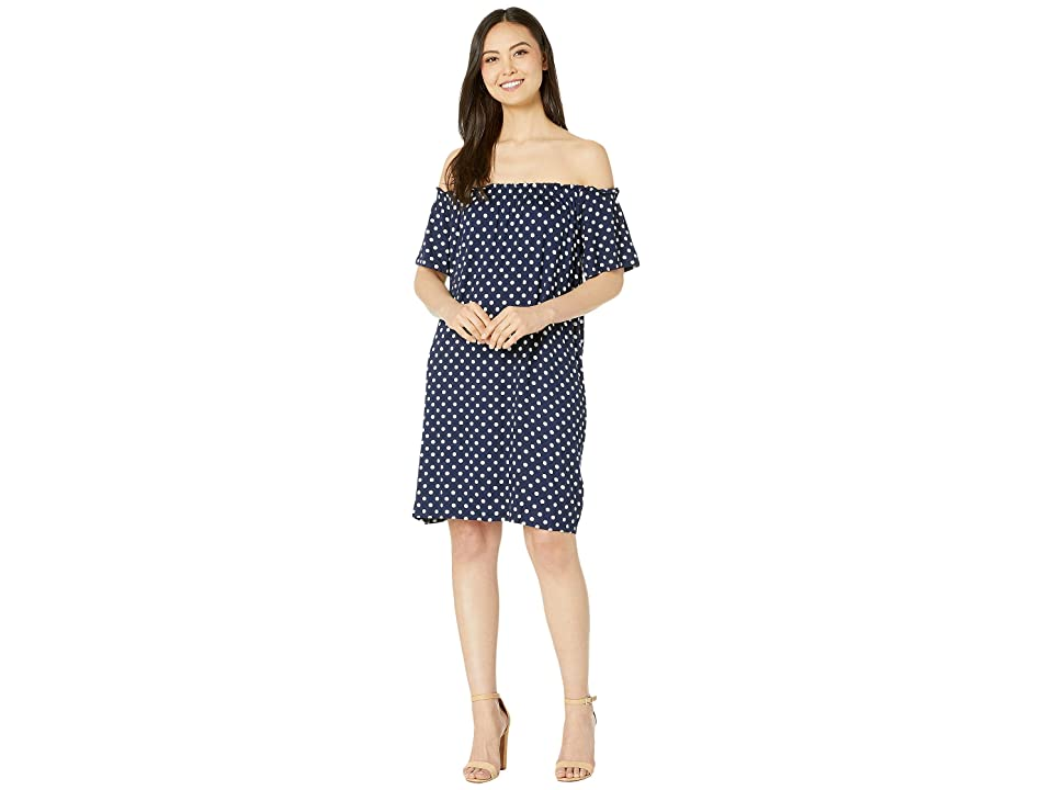Bobeau Off-The-Shoulder Knit Dress (Navy Polka Dot) Women