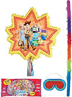Party City Pull-String Toy Story 4 Pinata Supplies, Include a Pinata, a Pinata Stick, a Blindfold, and 4 Pounds of Candy