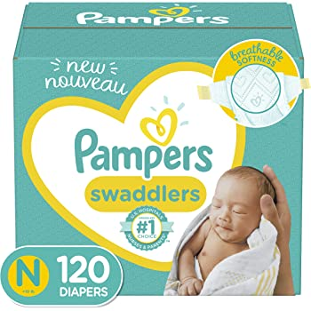 Baby Diapers Newborn/Size 0 (< 10 lb), 120 Count - Pampers Swaddlers, Giant Pack (Packaging May Vary)