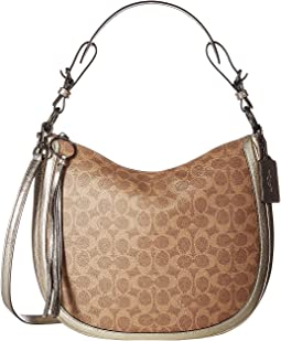 Coated Canvas Signature Metallic and Exotics Sutton Hobo
