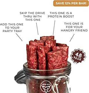Mission Meats Keto Grass Fed Beef Bars Gluten Free, No MSG Sugar free, Non GMO, Nitrate Nitrite Free, Paleo Healthy Natural Meat Bars Beef Jerky (48-Count)