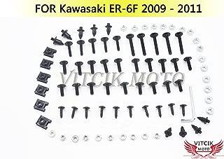 VITCIK Full Fairings Bolt Screw Kits for Kawasaki Ninja 650R ER-6F 2009 2010 2011 ER6F 09 10 11 Motorcycle Fastener CNC Aluminium Clips (Black & Silver)