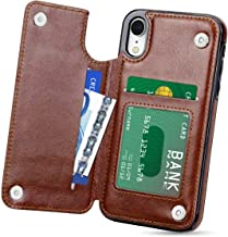 Genuine Brown Leather Card Holder Wallet Flip Folding Case iPhone XR Case Cover Compatible with Apple iPhones Genuine Brown Leather Card Holder Wallet Flip Folding Case (iPhone XR)