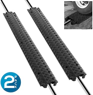 Pyle Ramp-1 Channel Rubber Floor Cord Concealer-Heavy Duty Cable Protector Wire/Hose/Pipe Hider Driveway Protective Covering Armor PCBLCO101X2 (Pair), Black