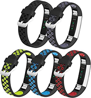 iHillon Compatible with Fitbit Alta (HR)/ Fitbit Ace Bands, 5-Pack Two-Toned Breathable Sport Strap with Metal Buckle Compatible with Fitbit Alta/ Alta Hr/ Fitbit Ace for Women Men, Large