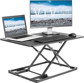 VIVO Black Ultra-Slim Single Top Height Adjustable 31 inch Standing Desk Converter, Compact Sit Stand Desktop Riser for Mo...