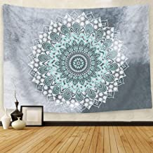 Cootime Mandala Tapestry , Hippie Bohemian Flower Psychedelic Indian Dorm Decor for Living Room Bedroom 51x60 Inches, Green