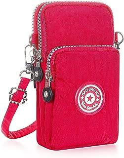 YFDZONE Cell Phone Crossbody Bag Small Handbag Purse Messenger Bag Nylon Passport Crossbody Bags for Women (Rose)