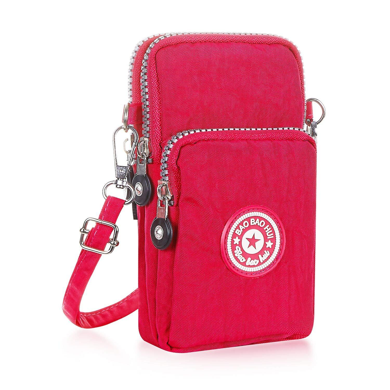 YFDZONE 手机钱包斜挎包 iPhone,手机包钱包手提包,臂包旅行钱包,男女通用 玫瑰红