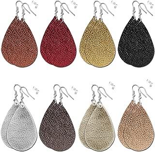 8 Pairs Leather Earrings for Womens - Faux Leather Teardrop Earring Lightweight Drop Dangle Fashion Earrings for Women Girls
