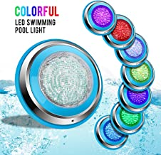 ZKONI LED Pool Light 36W 12V RGB Color Changing Swimming Pool Light by Remote Control, IP68 Waterproof, Stainless Steel Face Rim,1.5M Cord Wall Surface Mounted
