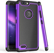 TILL for ZTE Blade Z Max Case, TILL ZTE ZMax Pro 2/ZTE Sequoia [Shock Absorption] Dual Layer Hybrid TPU Rubber Silicone + Plastic Armor Defender Protective Hard Case Cover Shell for ZTE Z982 [Purple]